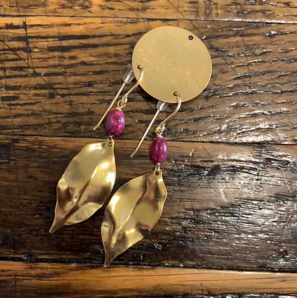 Brass leaf and ruby earrings
