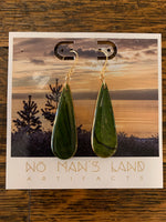 Green Wooden Drop Earring