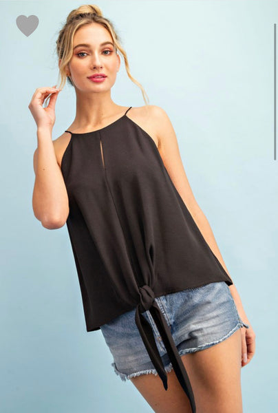 Black tie front cami top