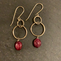Silver boheme hoops with ruby