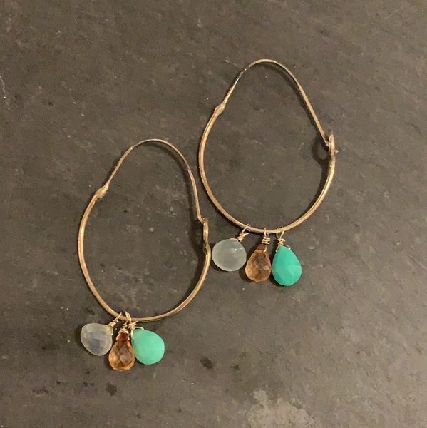 Hand formed hoops with gems