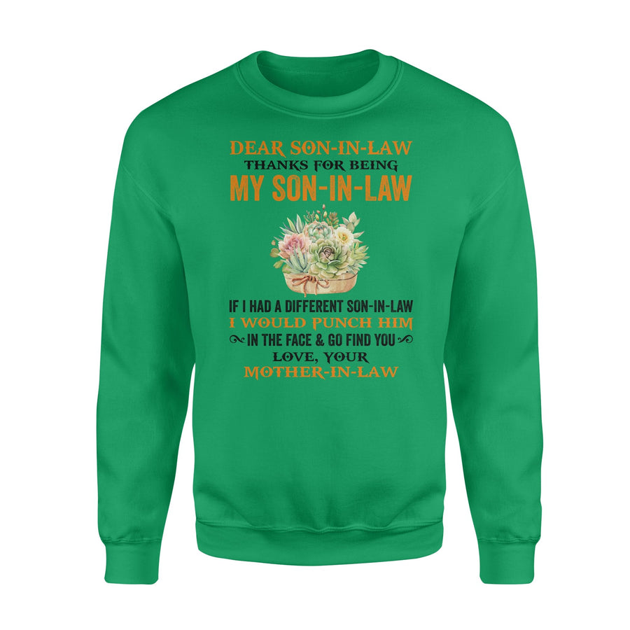 Yellow Flower Mom-In-Law to Son-In-Law Sweatshirt Thanks My Son-In-Law I Would Punch Him