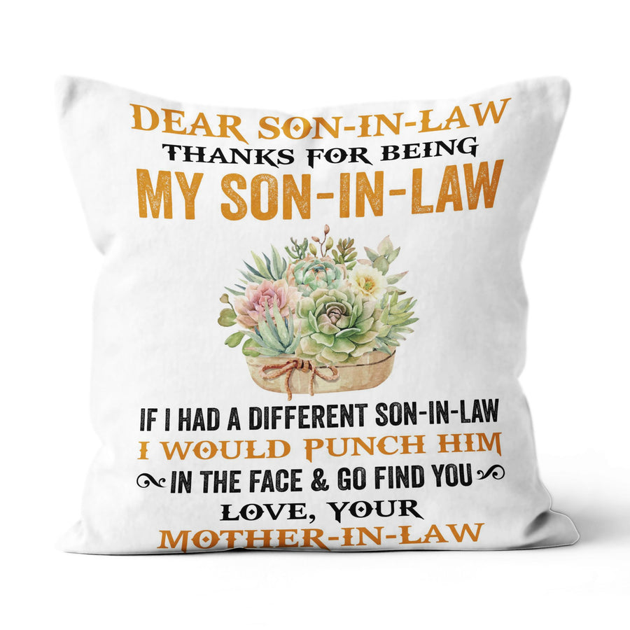Yellow Flower Mom-In-Law to Son-In-Law Linen Pillow Thanks My Son-In-Law I Would Punch Him