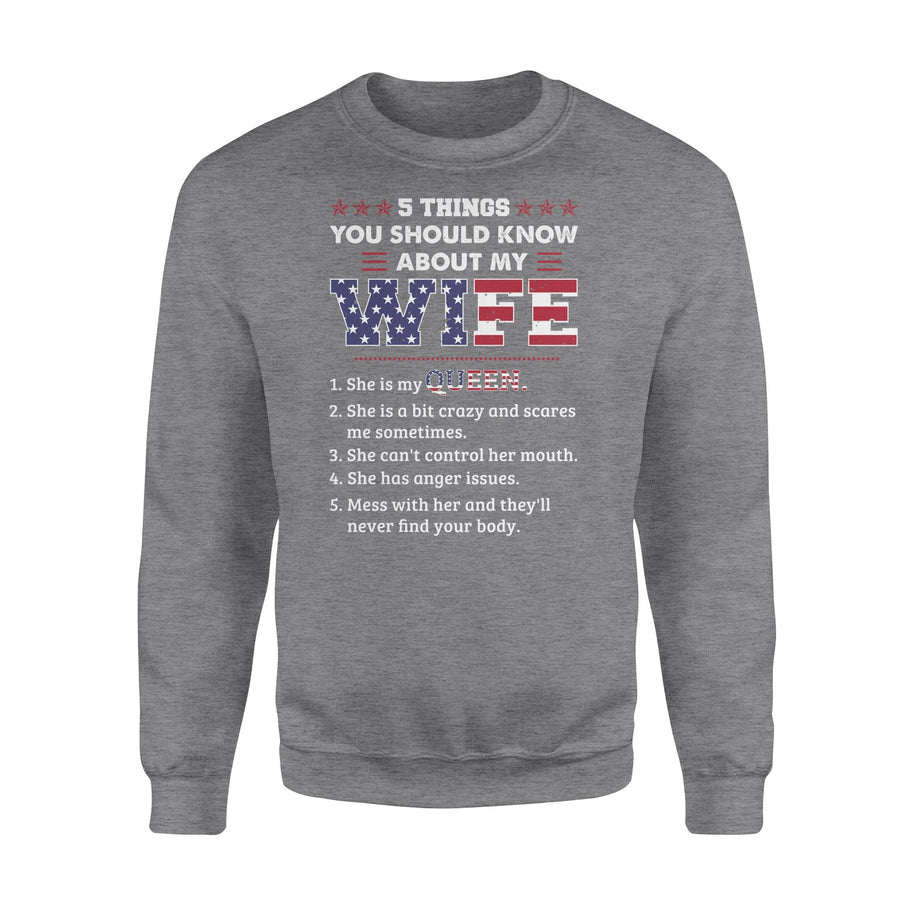 To Husband Sweatshirt 5 Things You Should Know About My Wife - Valentine's Day Gifts - Valentine Gift For Husband - Sweatshirt Valentine For Husband