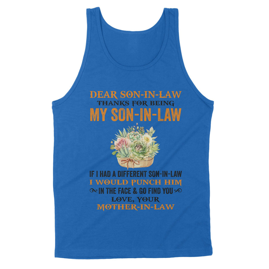 Yellow Flower Mom-In-Law to Son-In-law Tank Thanks My Son-In-Law I Would Punch Him
