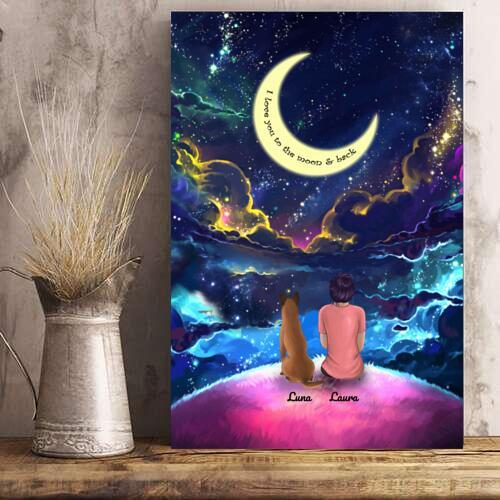 Woman And Dogs - Custom Name Colorful Night Personalized Poster