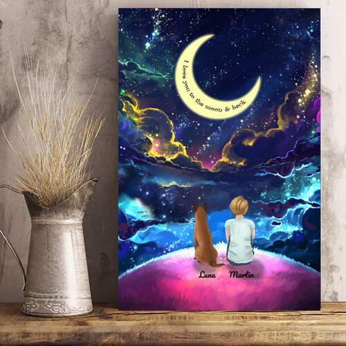 Girl And Dogs - Custom Name Colorful Night Personalized Poster