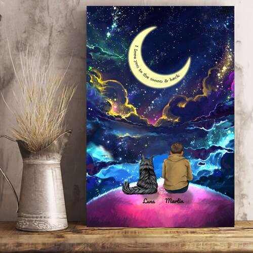 Man And Cats - Custom Name Colorful Night Personalized Poster