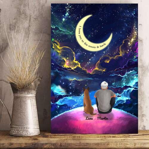 Man And Dogs - Custom Name Colorful Night Personalized Poster