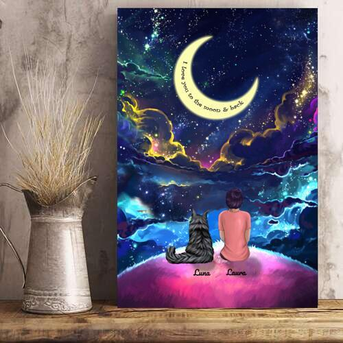 Woman And Cats - Custom Name Colorful Night Personalized Poster
