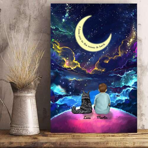 Boy And Cats - Custom Name Colorful Night Personalized Poster