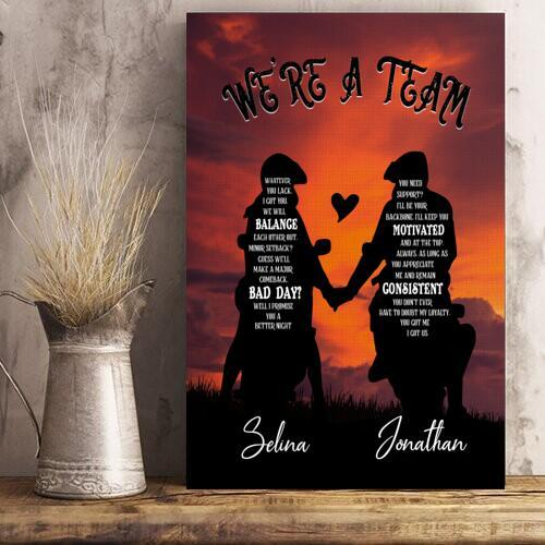 Couple Hand In Hand To Love Personalized Poster We're A Team Whatever You Lack, I Got You - Valentine's Day Gifts - Valentine Gift For Lover - Poster Valentine For Lover