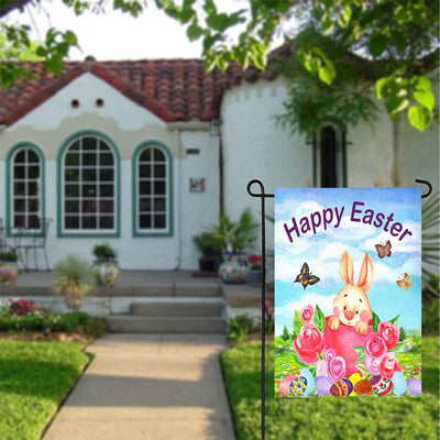 Wamika Easter Funny Bunny Eggs Butterfly Flowers Double Sided Garden Yard Flag