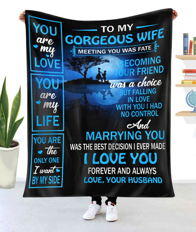 To My Wife Fleece Blanket Meeting U Was Fate Becoming Friend - Anniversary's Day Gifts - Anniversary Gift For Wife - Blanket Anniversary For Wife