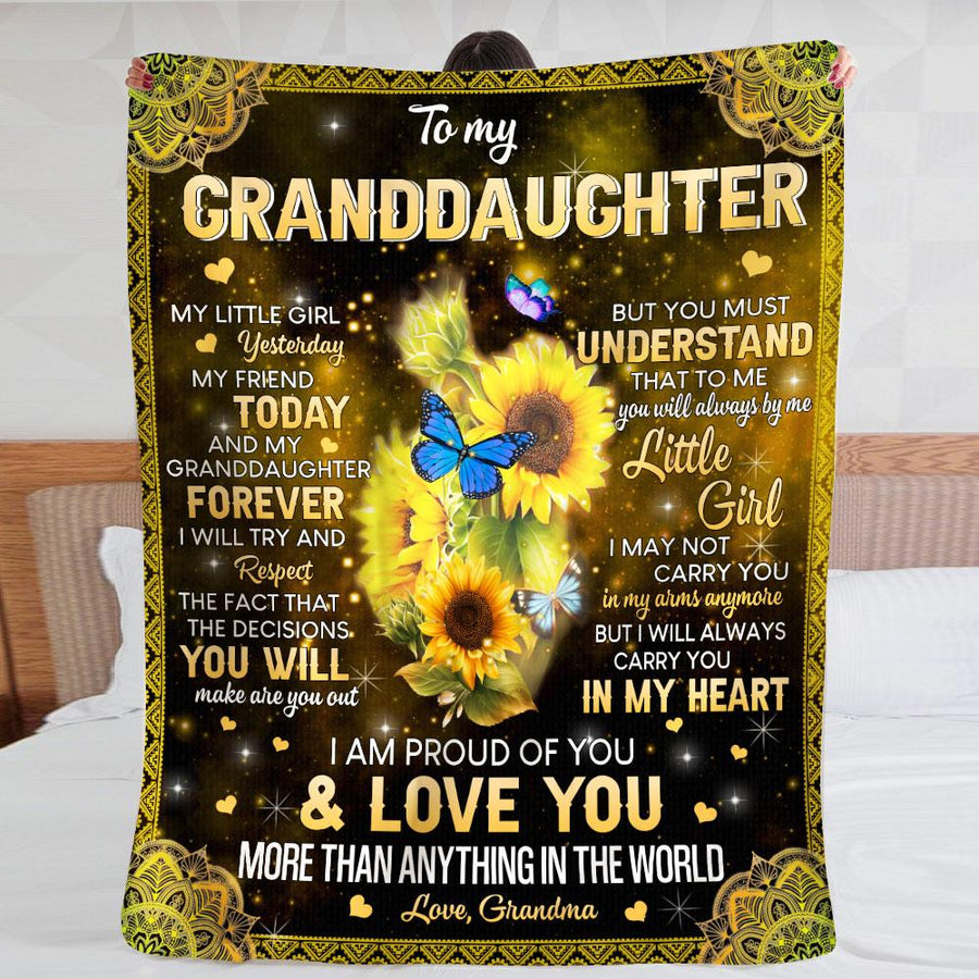 Flower Grandma To My Granddaughter, My Little Girl Yesterday, My friend today & My Granddaughter Forever - Sherpa Blanket
