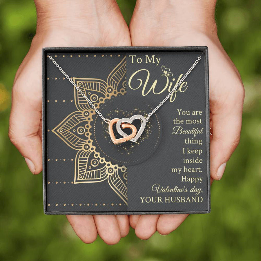 Husband To Wife You Are The Most Beautiful Thing I Keep Inside My Heart - Interlocking Hearts Necklace With Message Card