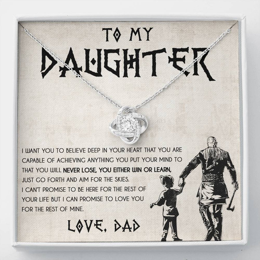 Dad To Daughter Necklace - I Want You Believe Deep In Your Heart - The Love Knot Necklace With Message Card