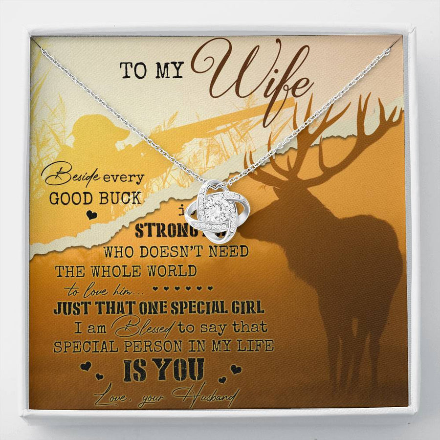 Valentine's Day Necklace For Wife - HUSBAND TO WIFE Deer Beside Every Good Buck Is A Strong Doe - The Love Knot Necklace With Message Card