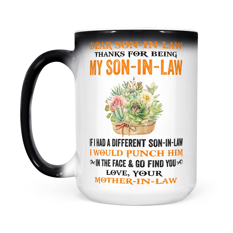 Yellow Flower Mom-In-Law to Son-In-Law Changing Mug Thanks My Son-In-Law I Would Punch Him