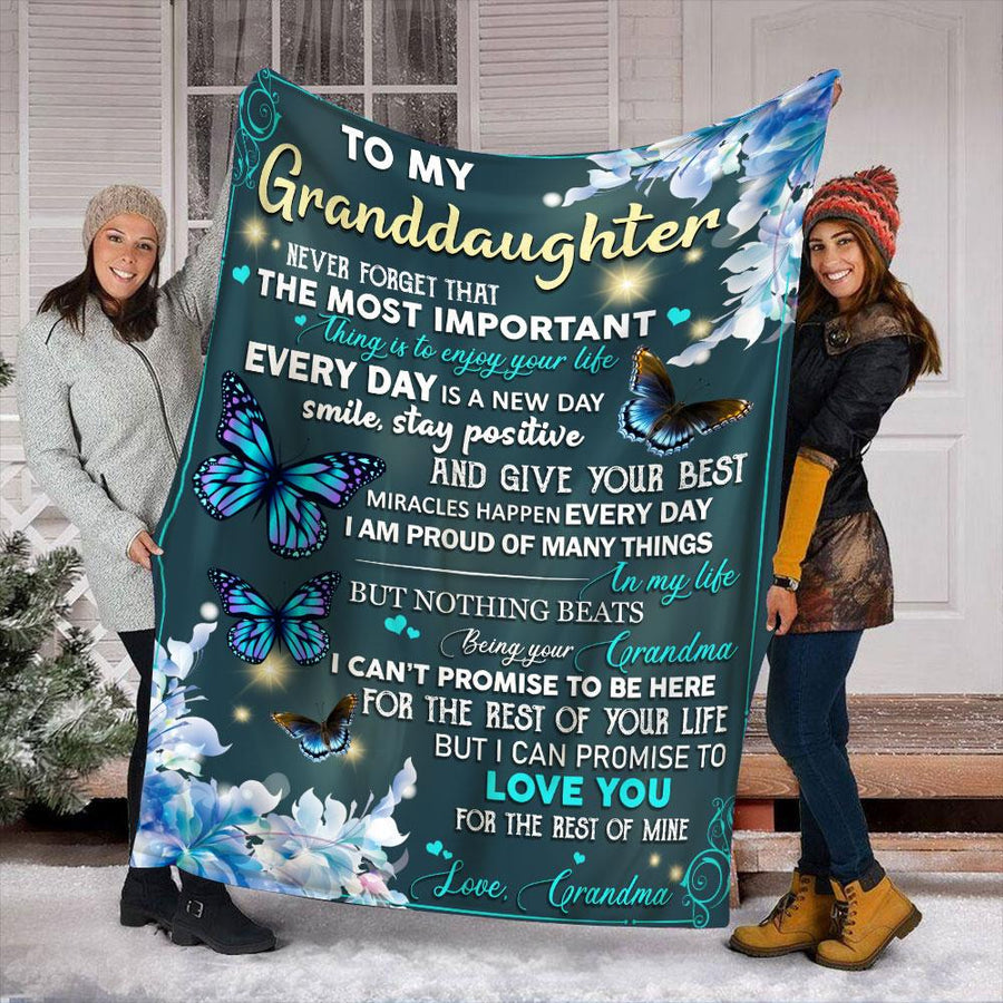 Butterfly Grandma To My Granddaughter Never Forget That The Most Important Thing Is To Enjoy Your Life Every day is A New Day Sherpa Blanket
