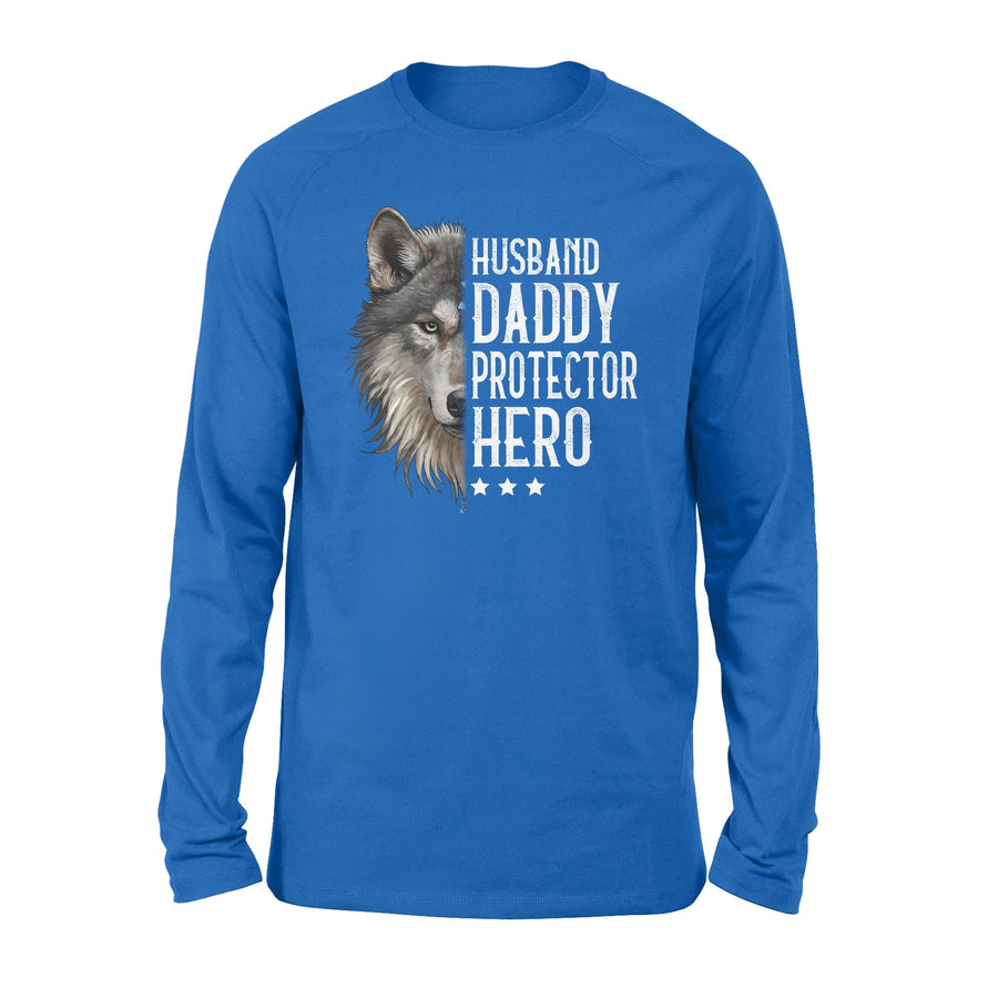 Wolf To Husband Long Sleeve Husband Daddy Protector Hero - Valentine's Day Gifts - Valentine Gift For Husband - Long Sleeve Valentine For Husband