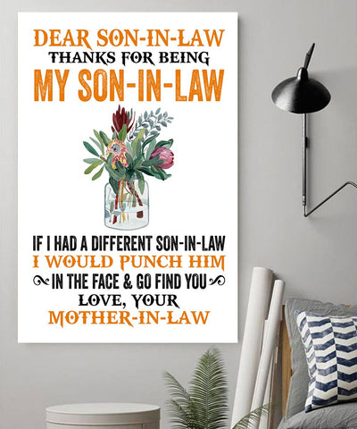 Red Flower Mom-In-law to Son-In-law Thanks For Being My Son-In-Law I Would Punch Him Canvas