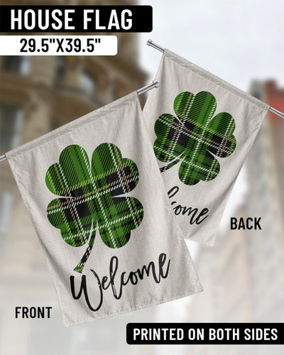 Lucky House Flag - Patrick's Day Gift -Welcome Irish Happy Patrick's Day - Shamrock Flag - Irish Gift