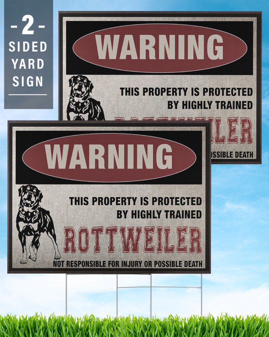 Rottweiler Dog Warning This Property Is Protected - Yard Sign
