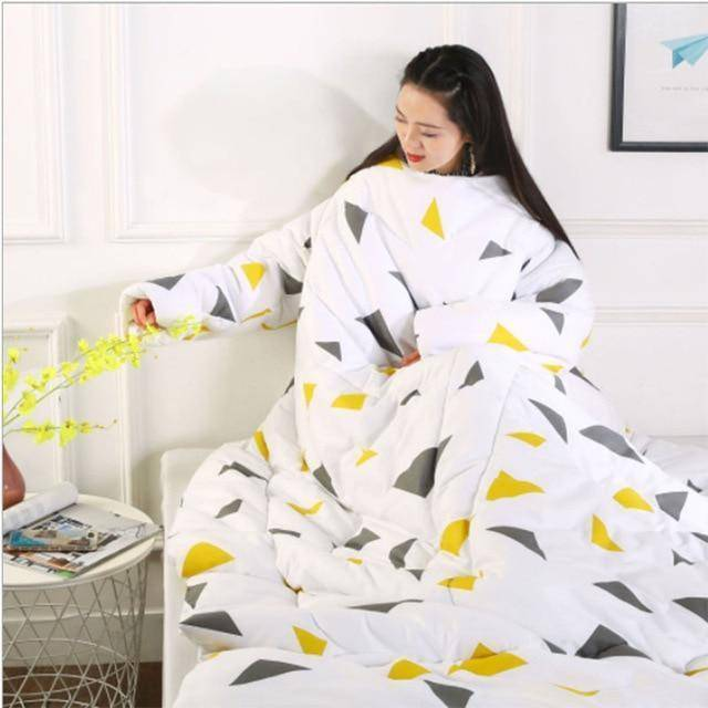 Wearable Lazy Quilt Comforter Blanket with Sleeves