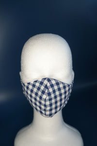 Blue & White Checkered Face Mask