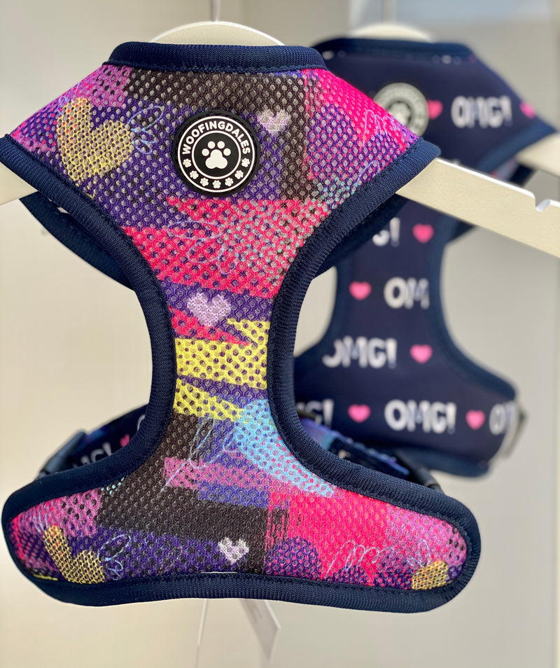 "Woofingdales Reversible ""Comfort"" Dog Harness - ""OMG"" Heart & Graffiti Print"
