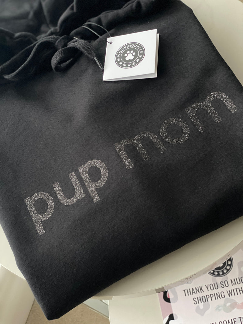 "Black Oversized ""pup mom"" Hoodie In Glitter Print - For Dog Owners"