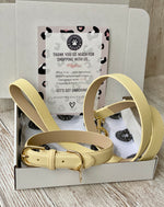 SIZE LARGE Riviera Yellow Portofino Dog Collar & Dog Lead Bundle: Luxury Leather Portofino Collection