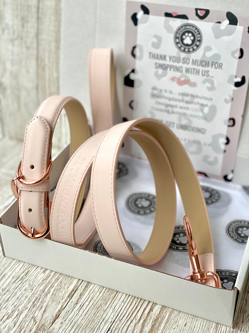 SIZE MEDIUM Gelato Pink Portofino Dog Collar & Dog Lead Bundle: Luxury Leather Portofino Collection