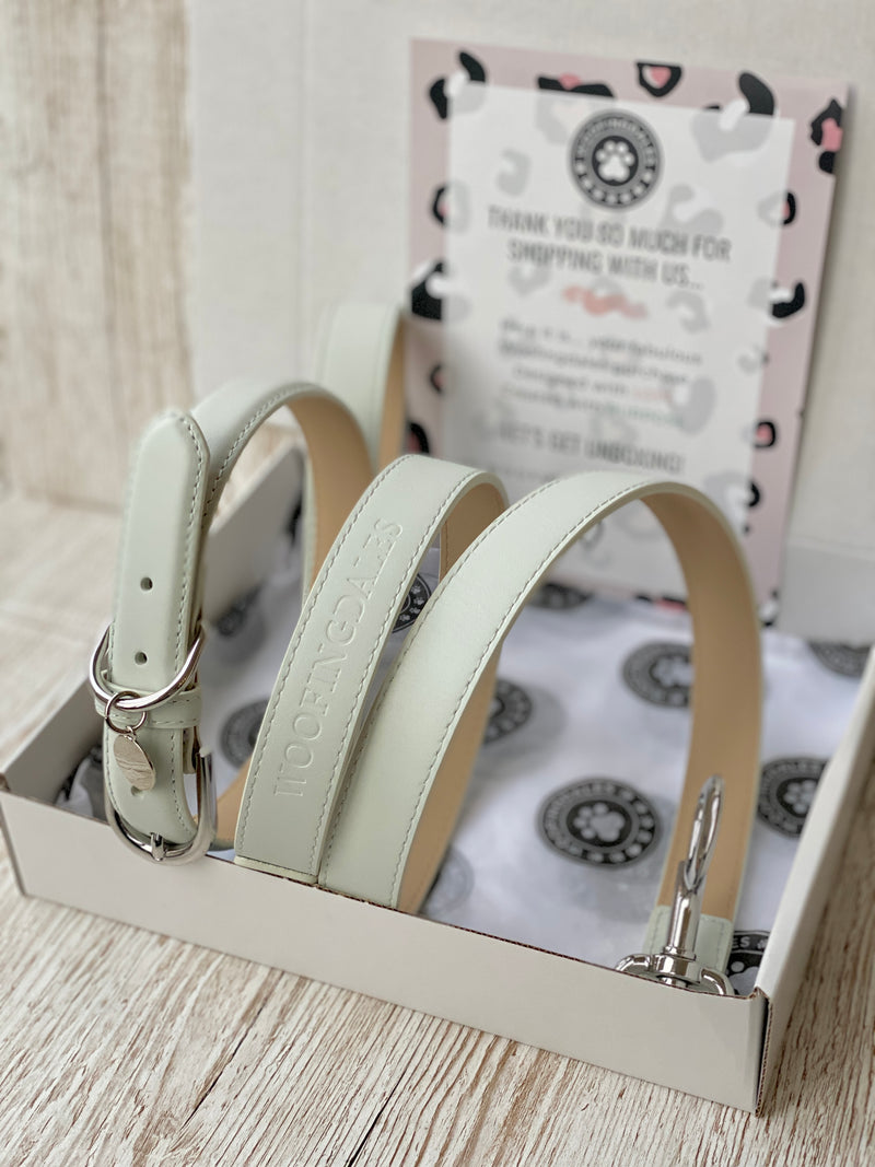 SIZE LARGE Coastal Grey Portofino Dog Collar & Dog Lead Bundle: Luxury Leather Portofino Collection