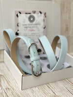 SIZE MEDIUM Harbour Blue Portofino Dog Collar & Dog Lead Bundle: Luxury Leather Portofino Collection