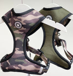 Woofingdales green & brown Camouflage print reversible mesh harness and the reverse Khaki green side.