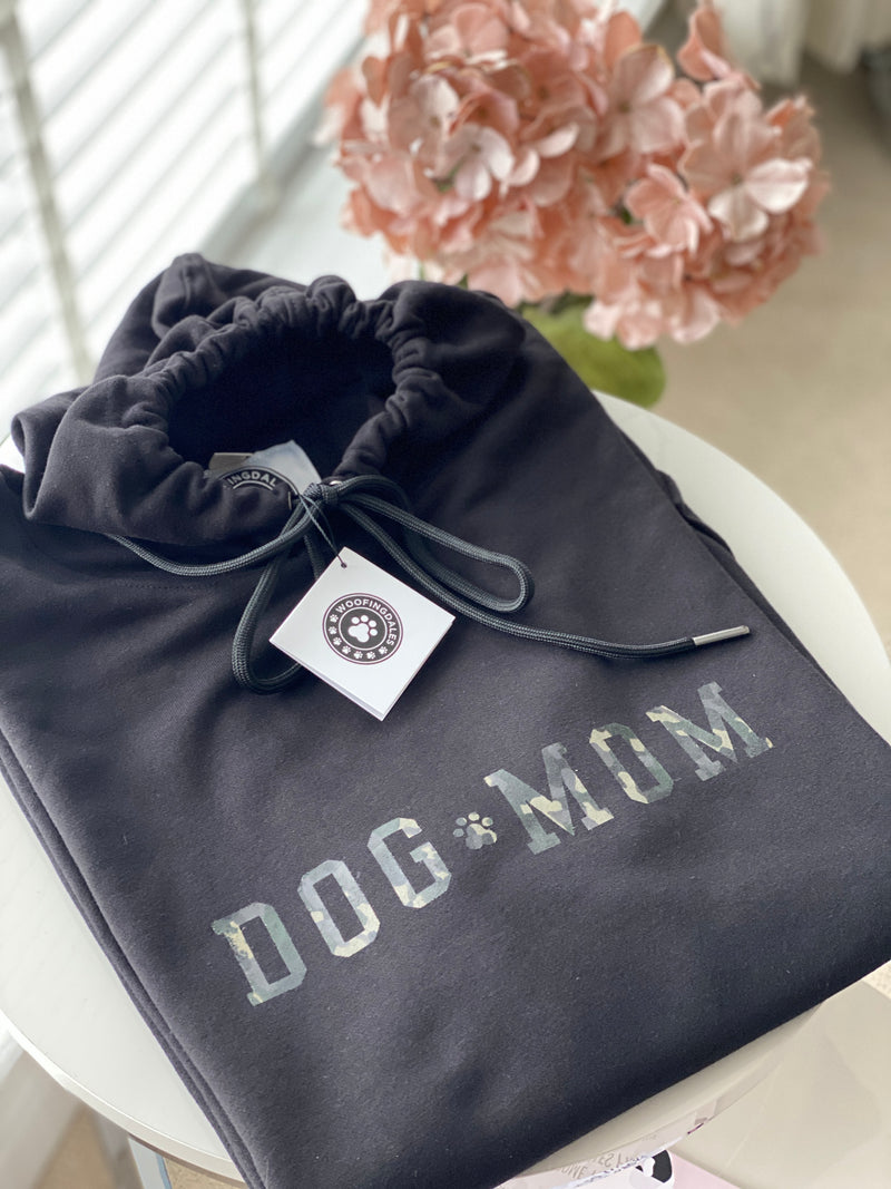 "Distressed Camo Print ""Dog Mom"" Oversized Drawstring Soft Hoodie For Dog Owners"