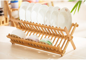 Natural Bamboo Folding Dish Rack
