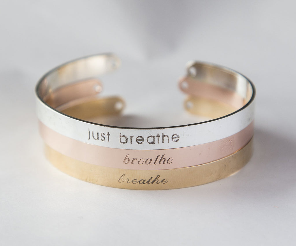 Just Breathe Bracelet, Yoga Gift, Just Breathe