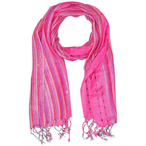 Pink Cotton Lurex Shimmering Stripes Scarf