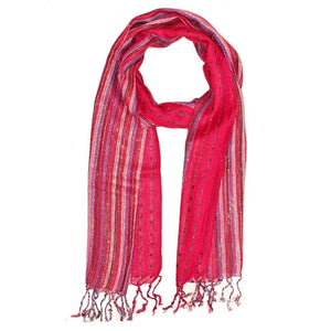Red Cotton Lurex Shimmering Stripes Scarf