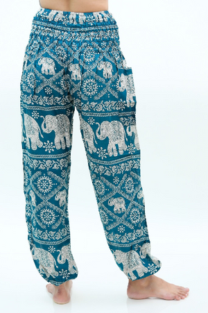 Women Boho Teal Elephant Pants