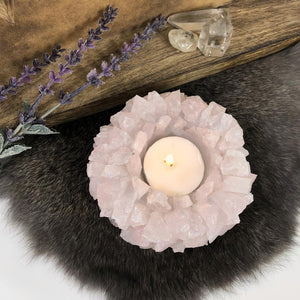 Rose Quartz Points Candle Holder