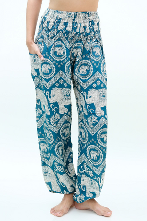 Women Boho Light Blue Elephant Pants
