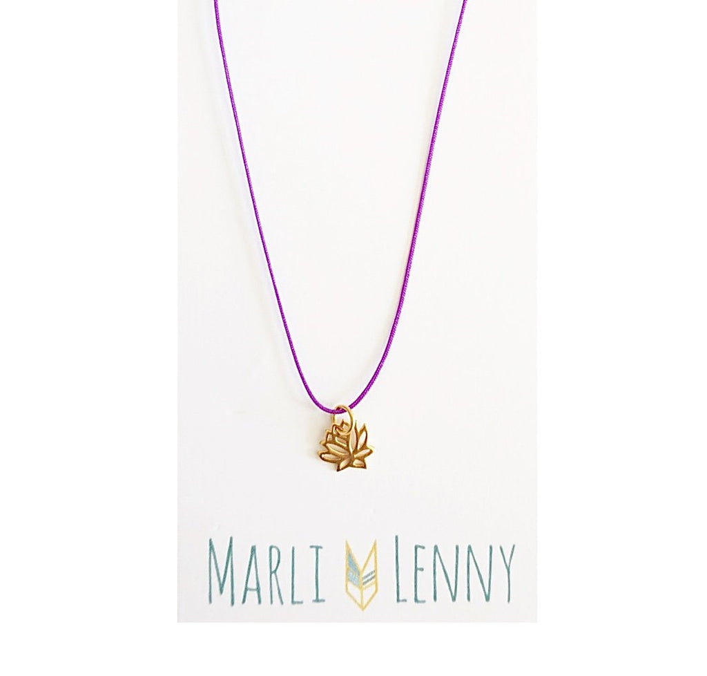 Lotus String Charm Necklace