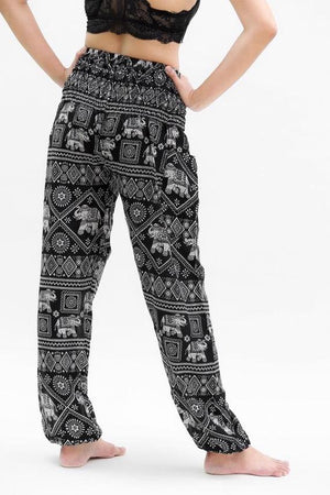 Women Boho Black Elephant Pants