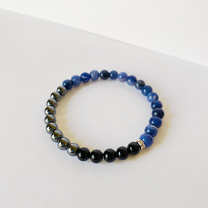 Black Onyx, Hematite and Sodalite Bracelet