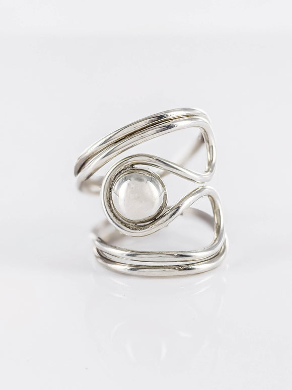 Wrapped ball silver ring