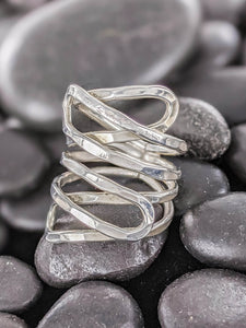 Long wrapped silver ring